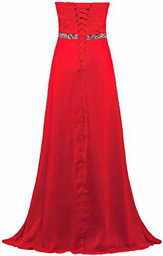 Chiffon Impero Abito Prom Lungo Perline Formiche Spalline Senza Femminile Abito Rosso 76r4q7