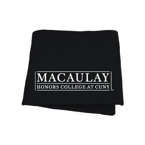 Macaulay Honors College Black Sweatshirt Blanket 'Official Logo'
