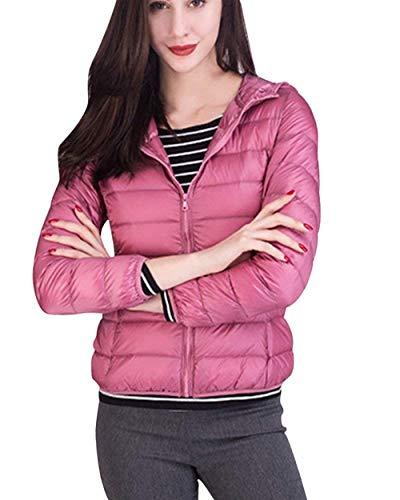 Plumas Mujer Cortos Elegantes Casuales Vintage Moda Cómodo Abrigo Acolchado Sencillos Otoño Chaquetas Colmar Cálido Invierno Colores Sólidos Manga Larga Cremallera Outerwear Abrigos Estilo Pink