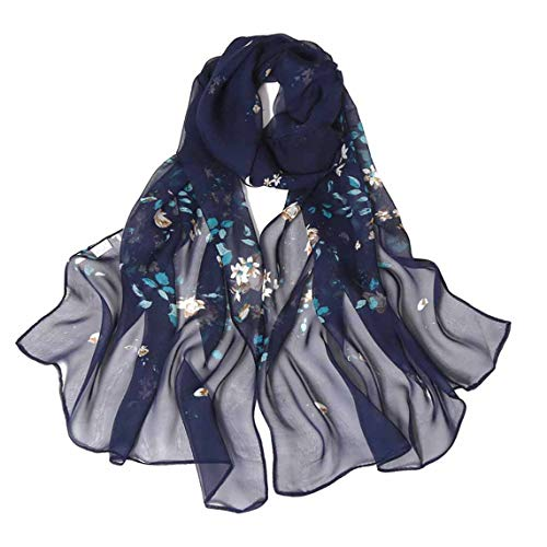 - Print Silk Feeling Scarf Fashion Scarves Lightweight Sunscreen Shawls for Women (Rose&Navy Blue)