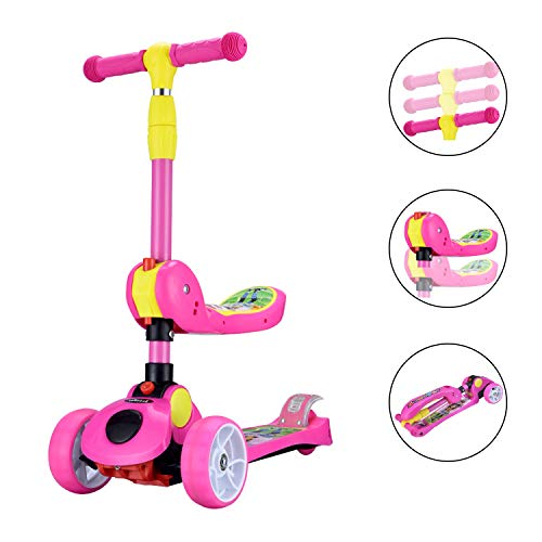AOODIL 2-in-1 Kick Scooters for Kids Toddler 3 Wheel Scooter for Boys&Girls - Kids Scooter with LED Light Up Wheels - Adjustable Height Wide Deck for Children from 2 to 14 Year-Old