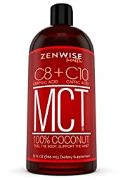 All Natural Coconut MCT Oil - 32 OZ C8 & C10 Weight & Energy Supplement - Gluten Free Formula for Metabolism Support - Great for Coffee + Drinks, Smoothies & Salad Dressings - BPA Free