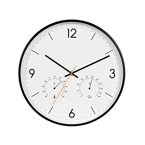 LPD Wall Clock Battery Operated Silent Non-Ticking Indoor Wall Clock with Temperature Humidity Glass Cover (Color : Black)
