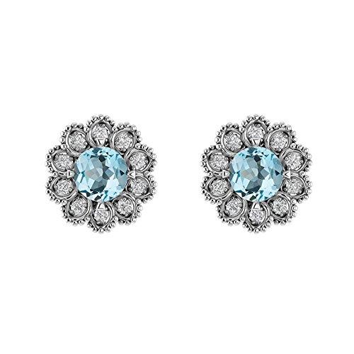 Blue Topaz Flower (Sterling Silver Round Cut Sky Blue Topaz and White Topaz Flower Earrings for Women)