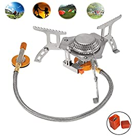 USHINING Folding Mini Camping Stove for Outdoor Cooking,Backpacking Portable Burner with Carrying Case