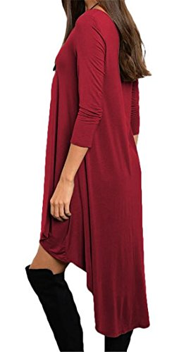 T Loose Long shirt Tunic Red Wine Solid Sleeve Cromoncent Womens Crewneck Dress EZ5xg7q0Ew