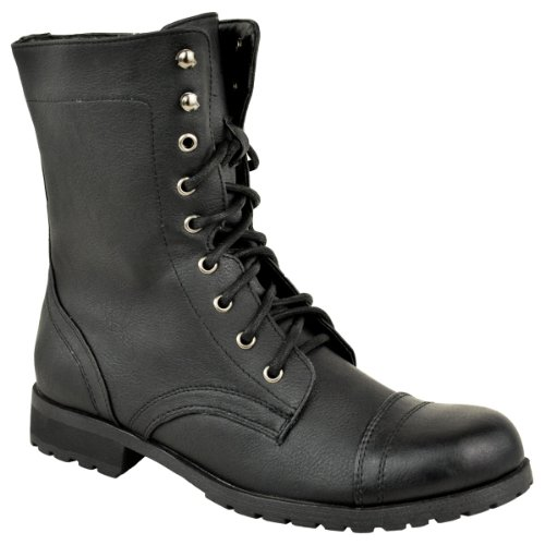 Fashion Thirsty Womens Low Heel Flat Lace Up Biker Army Military Combat Style Ankle Boots Size - stylishcombatboots.com
