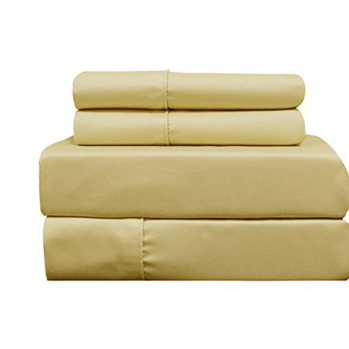 Deluxe and Super Soft Brushed Microfiber Attached Waterbed Sheet Set with Pole Attachment, 4 Piece King Size, Gold -