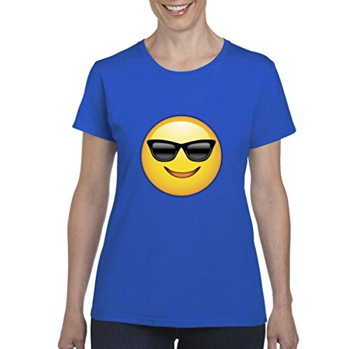 Artix Emoji with Sunglasses Fashion People Couples Gifts Best Friend Gifts Women's T-shirt Tee Clothes X-Large Royal - Sunglasses Burlington