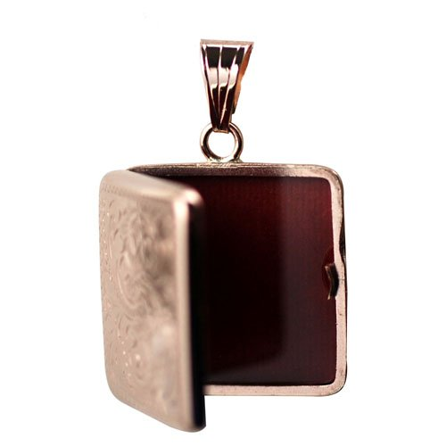 Médaillon carré à loquet en or rose 375/1000, de 22mm avec gravure