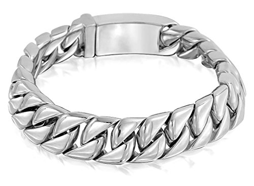 Bold Curb Link Bracelet - Bling Jewelry 12mm Stainless Steel Large Cuban Curb Chain Unisex Bracelet 8in