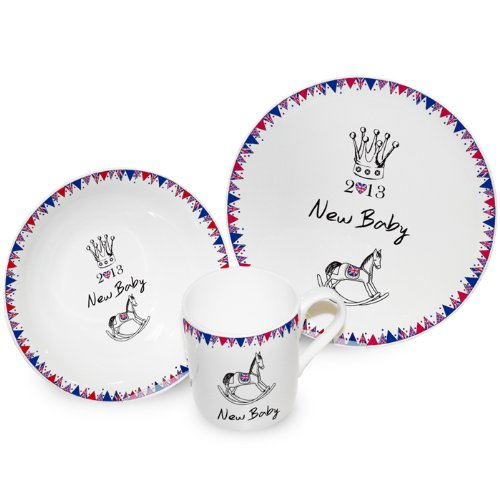 Royal Baby Bunting Breakfast Set - Bone China - Made in the UK - Perfect for Babies Sharing the Birth of Our New Prince George Alexander Louis