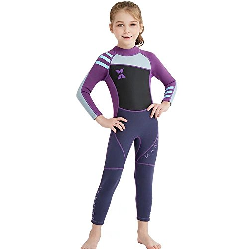 (DIVE & SAIL Wetsuit Kids Thermal Swimsuit Full Swim Suit for Girls 2mm Neoprene Wetsuit for Kids UV Sun Protective Long Sleeve Diving Suit Purple L)