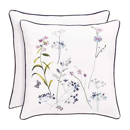 Five Queens Court Brenda Floral Motif Embroidered 20 Inch Square Throw Pillow, White