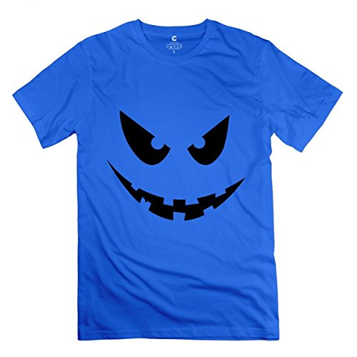 LiaoYang Halloween Face Royal Blue Adult Standard Weight T-Shirt For Men -
