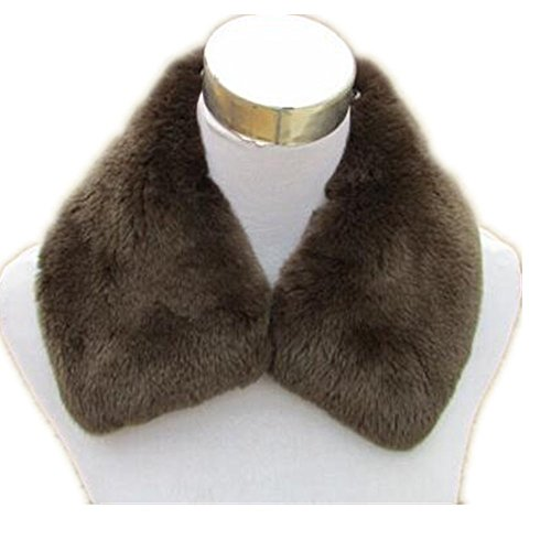 Gegefur Female genuine fox fur collar winter scarf coat can be removed with hat collar warm scarf solid color shawl (50cm, brown)