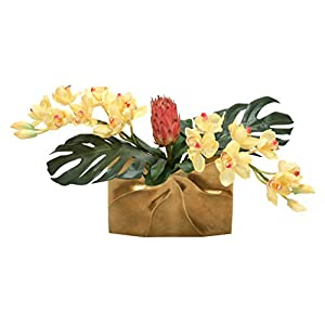 Distinctive Designs Tropical Mix of Champagne Burgundy Orchids and Protea in a Gold Ritz Vase 117