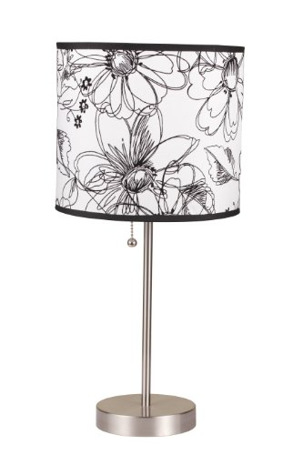 ORE International 8312A 19-Inch Brushed Steel Table Lamp with Floral Print Shade ()