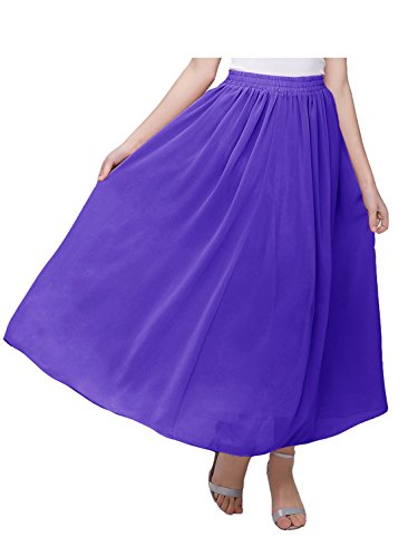 (Kileyi Women's Long A Line High Elastic Waist Swing Chiffon Pleated Midi Skirt Purple XXL)