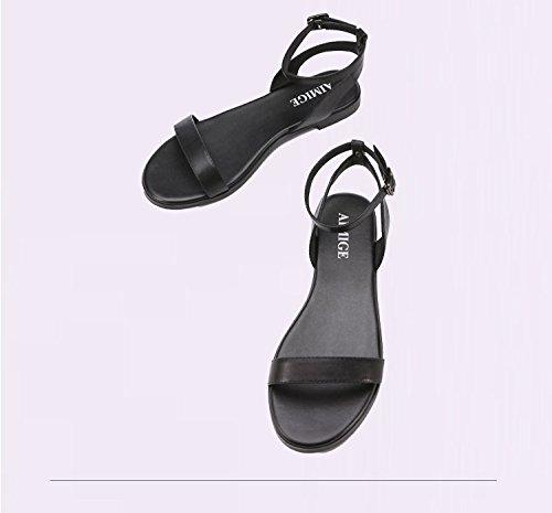 mot Color été nouveau talons en boucle un avec souple mot coréen romain cuir femme bas semelle Taille 37 simple Noir plat Sandales à 2017 plat tIdw11q