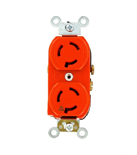 Leviton 4550-IG 15 Amp, 250 Volt, Duplex Locking Receptacle, Industrial Grade, Isolated Ground, Orange