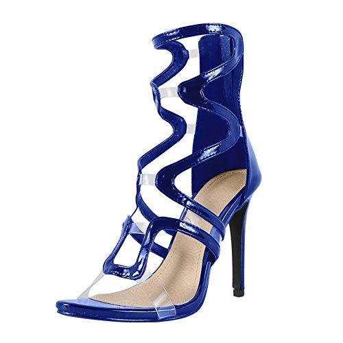 Damen Open Toe Sandalen High-Heels Stiletto Lackleder Römersandalen Reißverschluss Blau