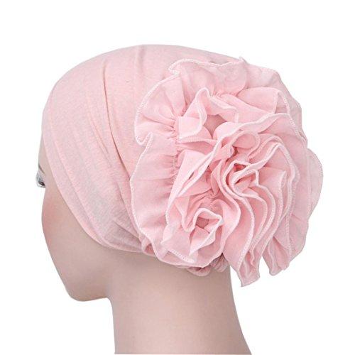 Aniywn Women Chiffon Flower Muslim Ruffle Cancer Chemo Hat Beanie Scarf Turban Head Wrap Cap (Free, Pink)