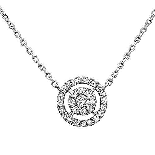 Crush & Fancy 18K White Gold Diamond Round Solitaire Pendant | Round Pave Diamond Pendant for Women 18K | Diamond Weight- 0.21ct tw Color- G/H Clarity-I1 | Adj. Chain 16-18 Inch | MARIA (0.21 Ct Color)