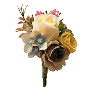 Flonding Artificial Rose Flower Boutonniere Bridegroom Groom Groomsman Men's Floral Silk Fabric Boutonnieres Best Man Boutineer for Wedding Prom Homecoming Decor 52