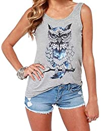 a298210fce TIFENNY Fashion Cute Owl Printed Shirt for Women Summer Loose Vest Couple  Gilet Shirt Plus Size