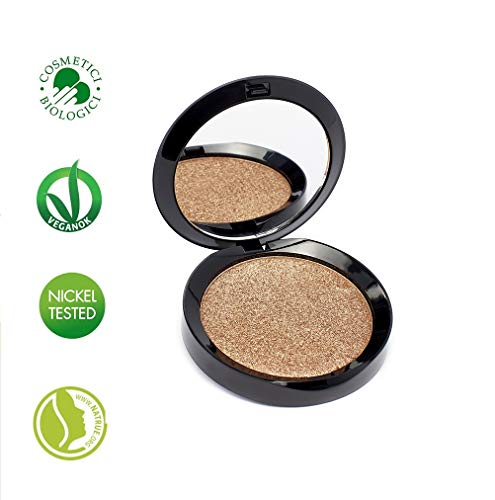 PuroBIO Certified Organic RESPLENDENT Intense and Long-Lasting Face and Body Highlighter with Castor Oil, Plant Glycerin and Rice Powder Shade 03 Copper. ORGANIC. VEGAN. NICKEL TESTED. MADE IN ITALY