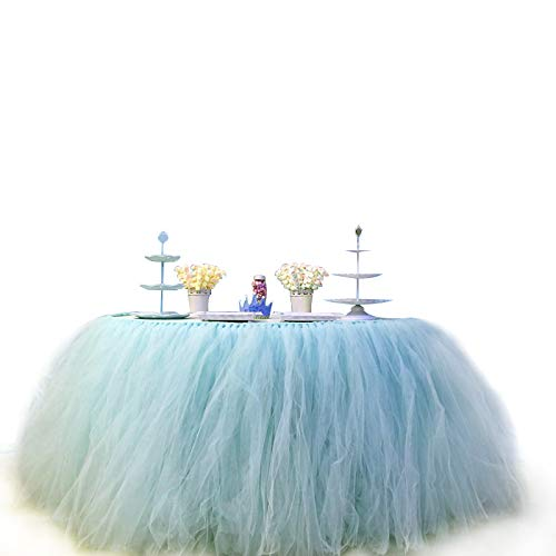 COUTUDI 3ft Tutu Table Skirt Tulle Tablecloth Gauze Romantic Net Yarn for Wedding Party Baby Shower Lace Birthday Party Decoration Bar Valentine's Day Christmas 31 x 36 inch (Sky Blue) -