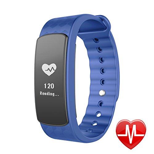 LINTELEK Fitness Tracker d'Activité Cardio Smart Bracelet Connecté Sport Fitness Montre Cardio Montre Connectée Sport Etanche IP67 Bluetooth 4.0, Tracker Sommeil Montre Podomètre Calories Bracelet Intelligent Rythme Cardiaque Alertes Appel SMS, Pour Android iPhone