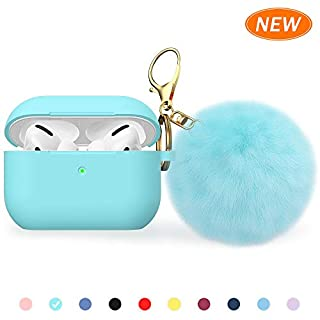 BRG for Airpods Pro Case, Soft Silicone Case with Cute Pom Pom Keychain, Shockproof Slim Protective Cover for AirPods Pro Charging Case [Visible Front LED]