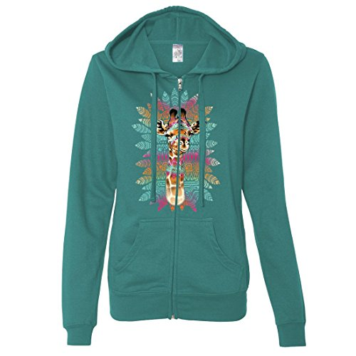 Dolphin Shirt Co Tribal Giraffe Ladies Lightweight Fitted Zip-Up Hoodie - Teal Large