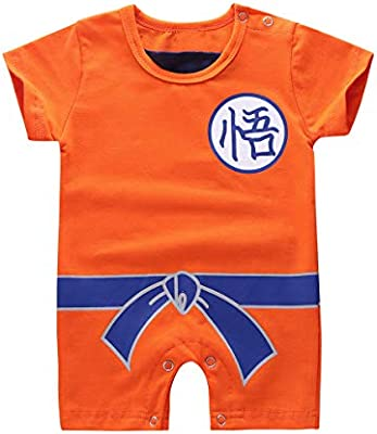 ACSUSS Unisex Baby Boys Girls Cartoon Wukong Jumpsuit Goku Costumes Short Sleeves Romper Bodysuit