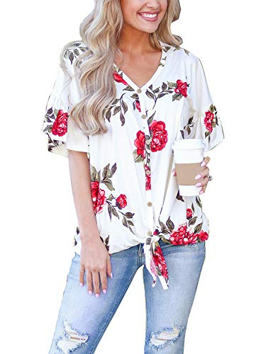 Blooming Jelly Womens Button Down Shirts V Neck Ruffle Sleeve Tie Knotted Front Blouse Knit Top (x-Large, White ()