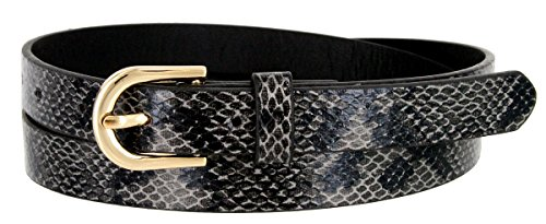 Women's Skinny Snakeskin Embossed Leather Casual Dress Belt with Buckle (Black, Large)