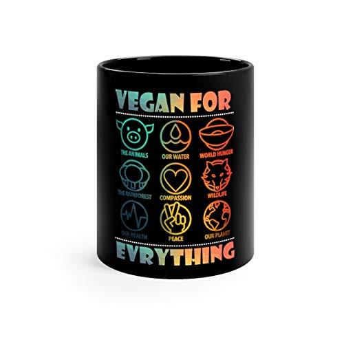 Vegan For Everything Cool Water Mug Ceramic Cup 11oz Black