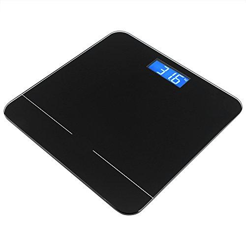 Fdit Balanza Inteligente Corporal Vista Nocturna Bluetooth LED con Balanza Electrónica App Móvil (Negro)