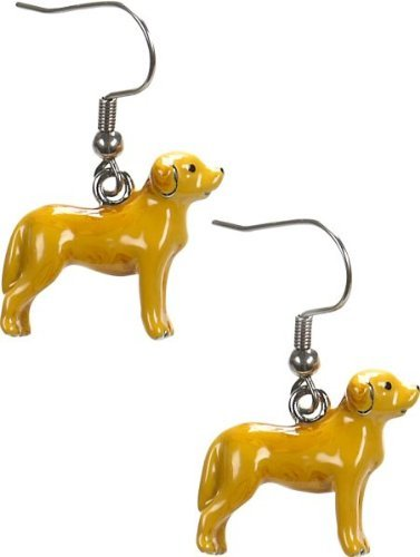 (Yellow Labrador Retriever Dog Faithful Companion Dangle Earrings)