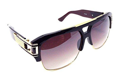 Gazelle B-Boy Square Metal & Plastic Retro Aviator Sunglasses (Brown Amber & Gold Frame, Brown - For Sunglasses Gazelle Men