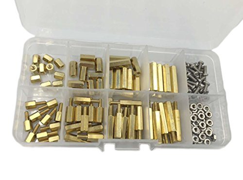 HVAZI 160PCS M2.5 Brass Spacer Standoff/Stainless Steel Screw/Nut Assortment Kit,Male-Female by HVAZI