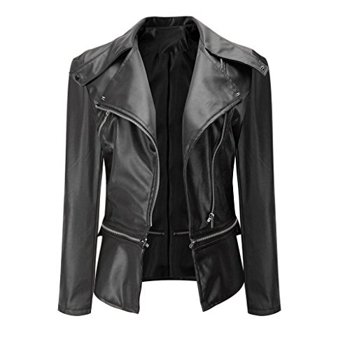 Gloous Fashion Vintage Women Biker Motorcycle Leather Zipper Jacket Overcoat Outwear (XL, Black) Closure Overcoat