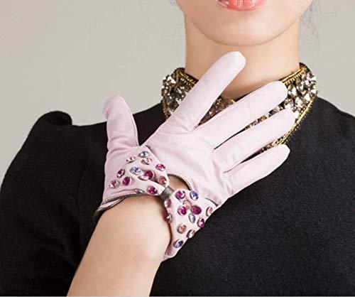 Guanti Unita Tinta Invernale Moda Intarsiato In Calda Chic Sintetici Ragazza Pink Breve Pelle Diamanti Donna AqwnBAPr7