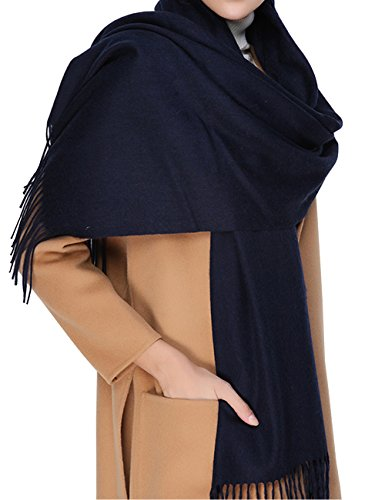 - Cashmere Wool Scarf,Large Soft Women Men Scarves Winter Warm Shawl Gift Package (Navy Blue)