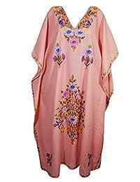 Mogul Womens Evening Kaftan Kashmiri Floral Embroidery Cotton Caftan Maxi Dress