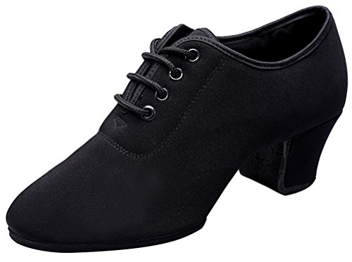 Abby 851 Womens Tango Latin Ballroom Fresh Rumba Pointed Toe Low Top Flat Snug Lace Up PU/Cloth Dance Shoes Black-a 0L9eYNc