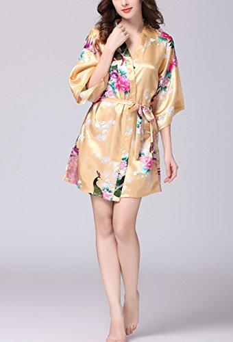 2018 di nuovo damigella stile fiori Robe del Geisha Donna stile Sleepwear seta Vestaglia Pigiama amp; da Raso Champagne Accappatoio notte d'onore Pigiama e lungo Kimono di wOqFxX1