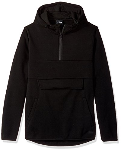 WT02 Men's Long Sleeeve Color Blocked Fleece Anorak Jacket, Black, ()